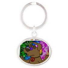 hippie_choclab Oval Keychain