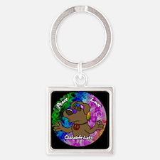 hippie_choclab_ornament Square Keychain
