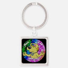 hippie_yellowlab_ornament Square Keychain