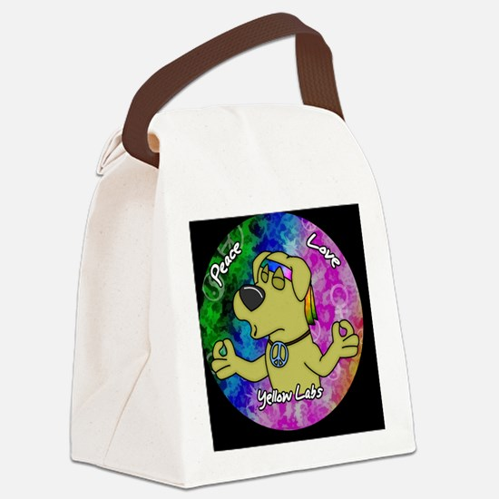 hippie_yellowlab_ornament Canvas Lunch Bag