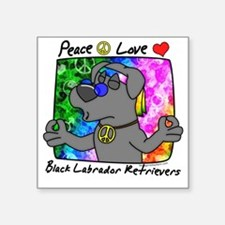 "hippie_blacklab2 Square Sticker 3"" x 3"""