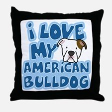 americanbulldog_animelove Throw Pillow