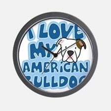 americanbulldog_animelove Wall Clock