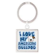 americanbulldog_animelove Square Keychain