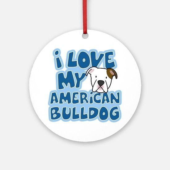 americanbulldog_animelove Round Ornament