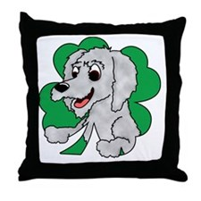 irishwolfhound_shamrock_blk Throw Pillow