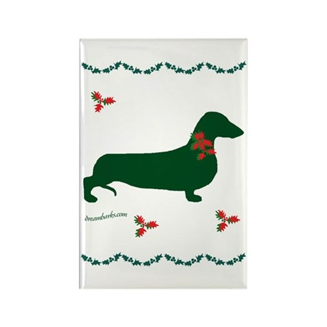 Christmas Dachshund Rectangle Magnet (100 pack)