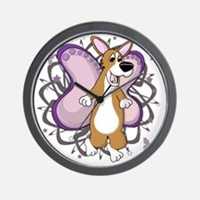 corgi-butterfly-blk Wall Clock