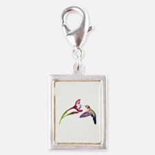Hummingbird in Flight Silver Portrait Charm