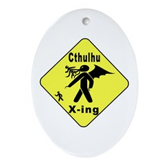 Cthulhu Crossing! Oval Ornament