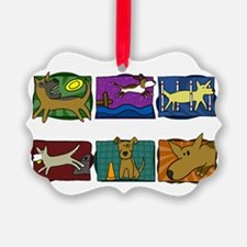 mutts_do_it_all_blk Picture Ornament