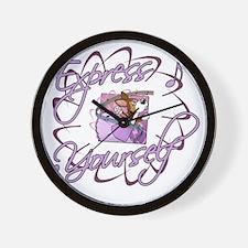 corgi-9boxes-ballerina_blk Wall Clock