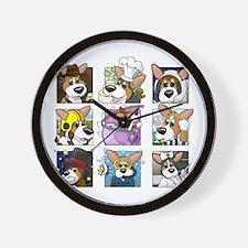 corgi-9boxes_blk Wall Clock