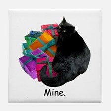 Cat with Presents Tile Coaster