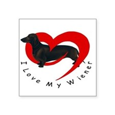 "I-love-my-wiener Square Sticker 3"" x 3"""