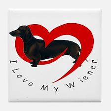 I-love-my-wiener Tile Coaster