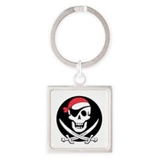 cant-sleep-pirates-black Square Keychain