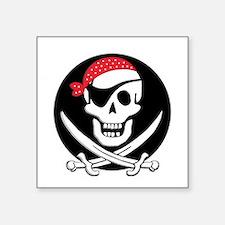 "cant-sleep-pirates-black Square Sticker 3"" x 3"""