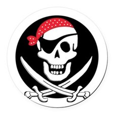 cant-sleep-pirates-black Round Car Magnet
