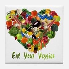 eat-your-veggies-white Tile Coaster