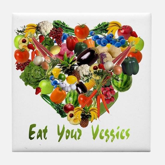 eat-your-veggies-white Tile Coaster