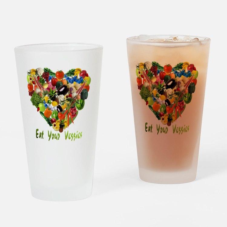eat-your-veggies-white Drinking Glass