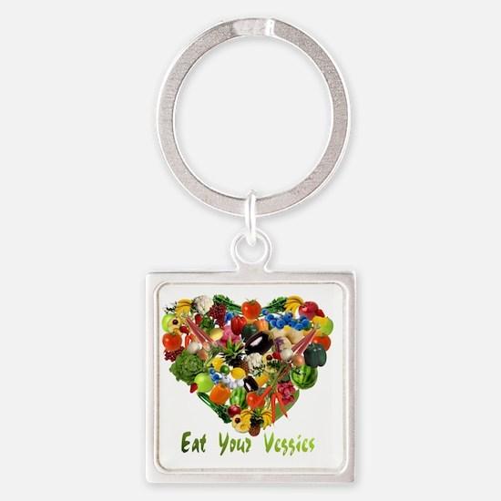 eat-your-veggies-white Square Keychain
