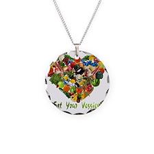 eat-your-veggies-white Necklace Circle Charm
