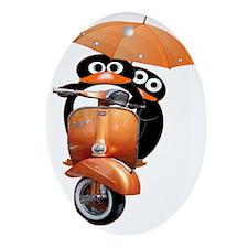 penguin-ver2-wide-black Oval Ornament
