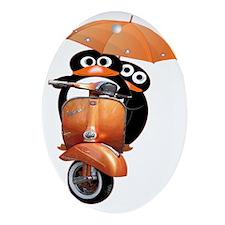 penguin-ver2-wide-blacka Oval Ornament