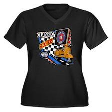 vespa-180-Ra Women's Plus Size Dark V-Neck T-Shirt