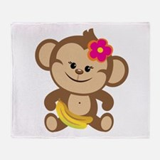 Girl Monkey Throw Blanket