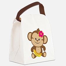 Girl Monkey Canvas Lunch Bag