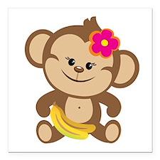 "Girl Monkey Square Car Magnet 3"" x 3"""