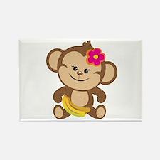 Girl Monkey Rectangle Magnet