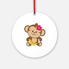 Girl Monkey Ornament (Round)