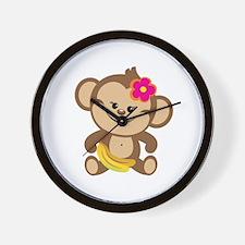Girl Monkey Wall Clock