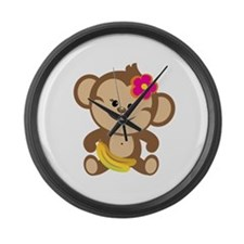 Girl Monkey Large Wall Clock