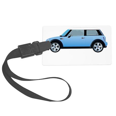 mini-cooper-blue-drive-black Large Luggage Tag