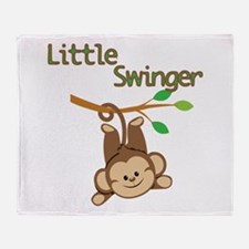 Boy Monkey Little Swinger Throw Blanket