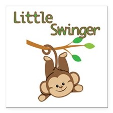 "Boy Monkey Little Swinger Square Car Magnet 3"" x 3"