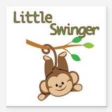 "Boy Monkey Little Swinger Square Car Magnet 3"" x 3"