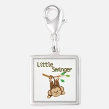 Boy Monkey Little Swinger Silver Square Charm