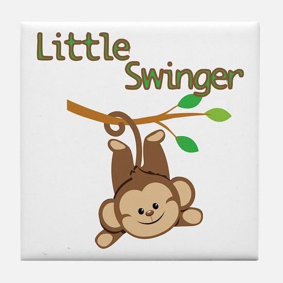 Boy Monkey Little Swinger Tile Coaster