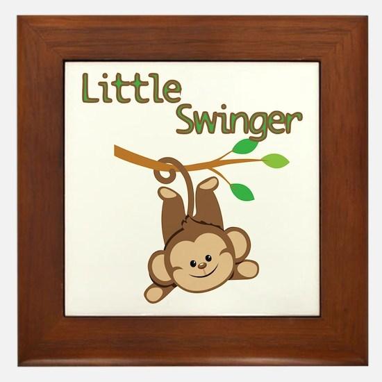 Boy Monkey Little Swinger Framed Tile