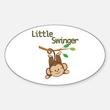 Boy Monkey Little Swinger Sticker (Oval)