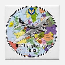 b-17map-round Tile Coaster