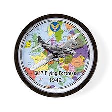 b-17map-round Wall Clock