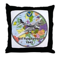 b-17map-round Throw Pillow