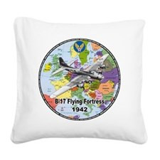 b-17map-round Square Canvas Pillow